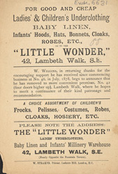 Advertisement for the Little Wonder warehouse